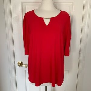 Dress Barn Solid Red Cinched Sleeve Top
